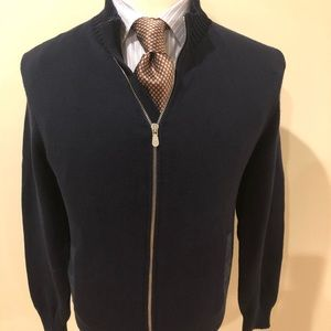 Brunello Cucinelli Sweaters - Brunello Cucinelli Dark Blue Cardigan-Size 54-XL